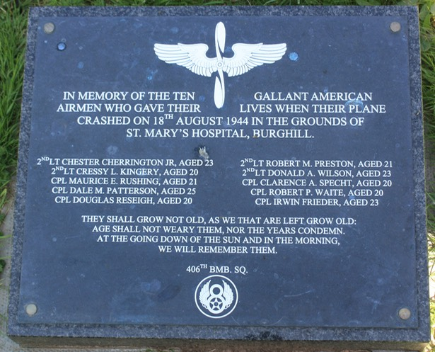 This B-24 Liberator bomber crashed at Burghill while it was on a training exercise in 1944, killing 10 people memorial